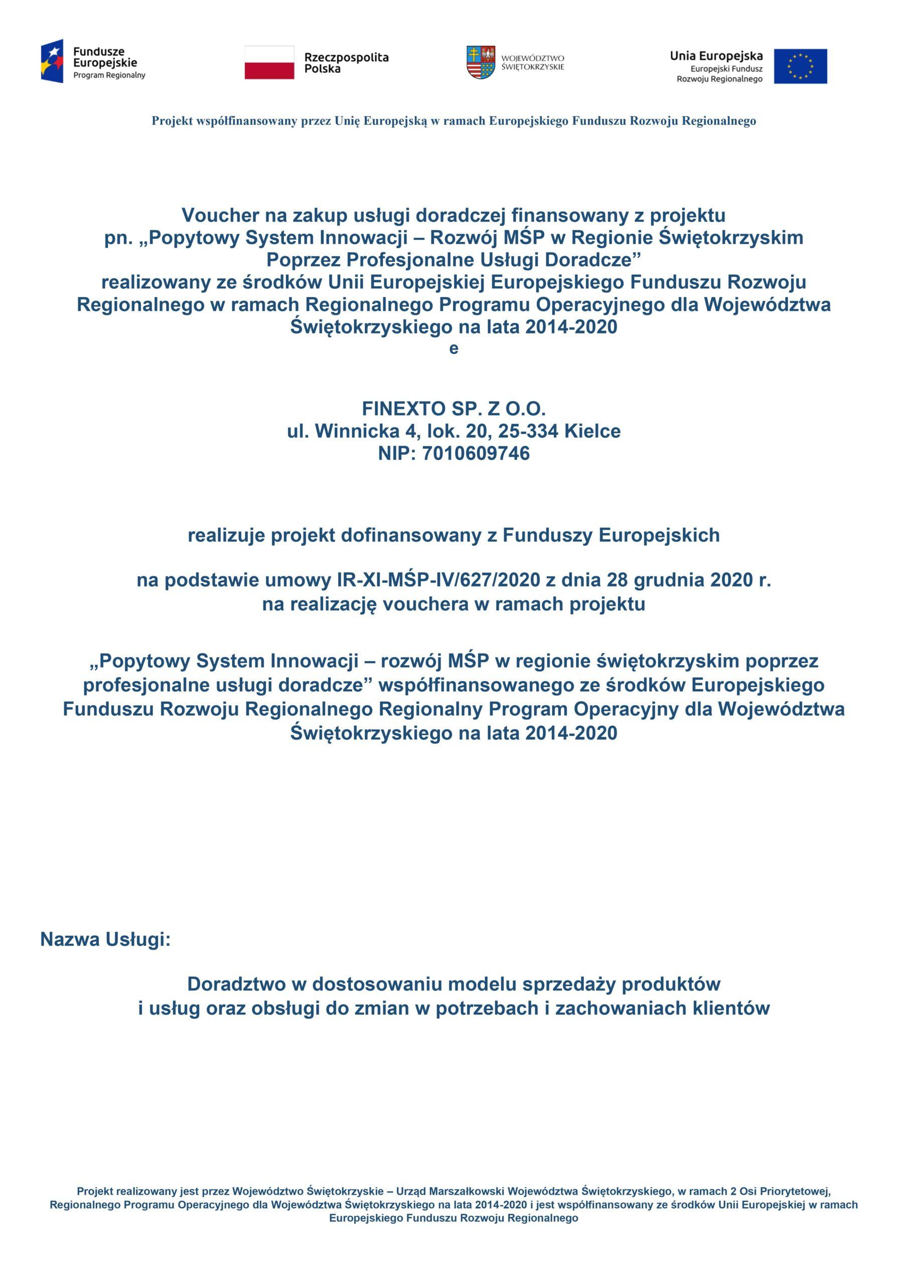 Informacja dotycząca realizacji projektu dofinansowanego zFunduszy Europejskich